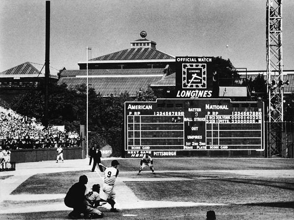 Bill Mazeroski's World Series winning home run in 1960 at Forbes Field.