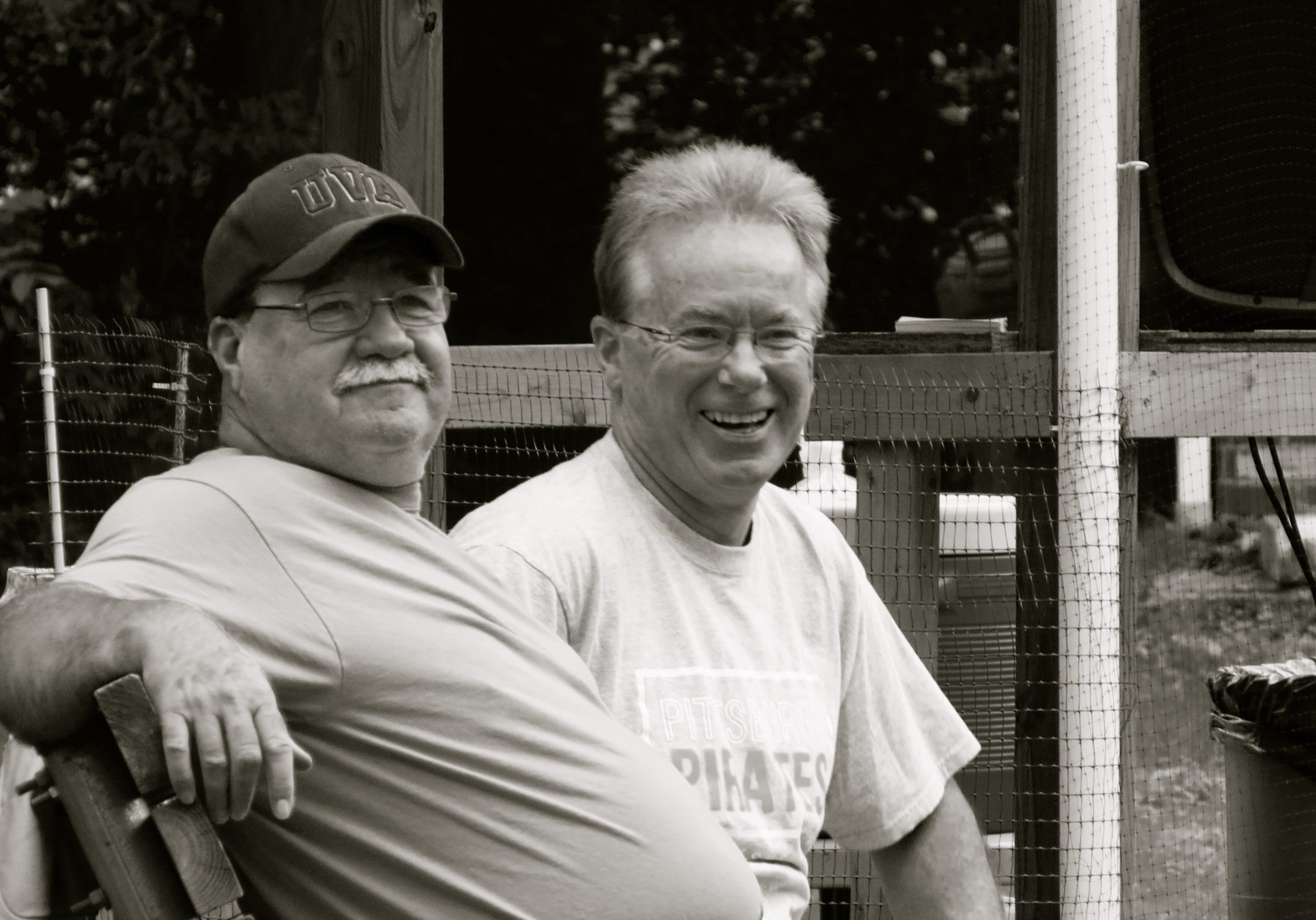 Childhood friends Tom  Freeman (left) & Dave Donaldson share a laugh.